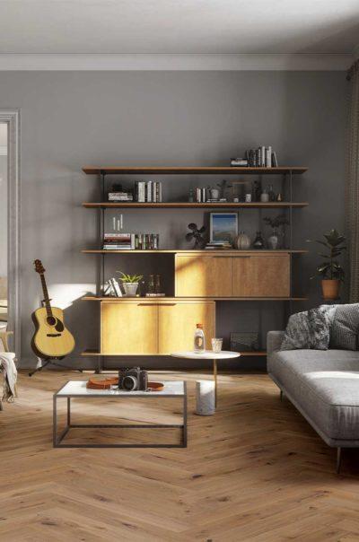 Natural Oak Herringbone Wood Flooring